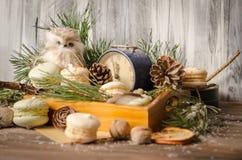 新年装饰用蛋白杏仁饼干,葡萄酒闹钟,猫头鹰之子a 库存图片