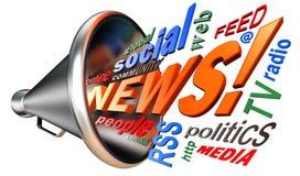 新闻词标记云彩和手提式扬声机 免版税图库摄影