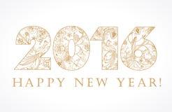 2016新年金葡萄酒卡片 免版税库存图片