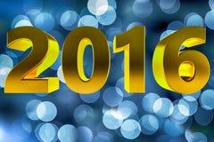 新年2016年金金黄被弄脏的光3d 免版税库存照片