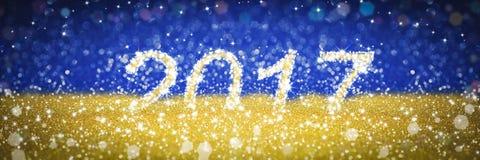 新年2017金黄和蓝色背景 库存照片