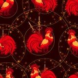 新年,与一只火热的雄鸡的无缝的样式 免版税库存照片