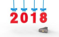 新年2018 3d例证 免版税库存照片