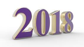新年2018 3d紫罗兰 免版税图库摄影