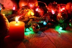 新年` s上面边界框架 圣诞节木背景 免版税图库摄影