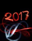 新年` s与抽象光的伊芙2017年 免版税库存照片