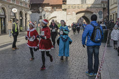 新年` s伊芙在克拉科夫跑 免版税库存图片