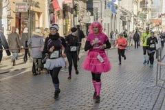 新年` s伊芙在克拉科夫跑 库存图片