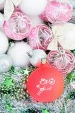 新年` s玩具和一个球与足球运动员的图片 免版税库存照片