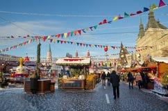 新年` s胶公平在红场在莫斯科,俄罗斯 免版税图库摄影