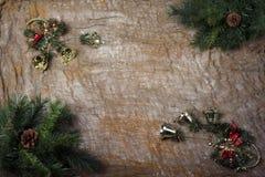 新年` s静物画-在背景的明信片袋装 免版税库存照片