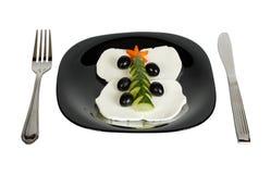 新年` s从计算的裁减黄瓜a的圣诞节冷杉木 库存照片