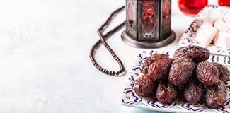 新Medjool日期 ramadan的kareem 免版税库存图片