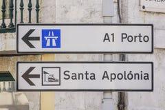 方向标向波尔图在里斯本-里斯本-葡萄牙- 2017年6月17日 库存照片