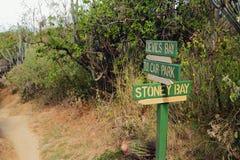 方向索引在全国自然公园 维尔京Gorda,托尔托拉岛 免版税库存图片
