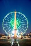 方尖碑到位de在微明的la协和飞机,巴黎 免版税库存图片