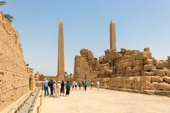 方尖碑在阿蒙寺庙,卡尔纳克,卢克索 库存照片