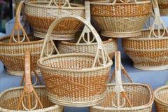 方平组织,竹篮子 免版税图库摄影