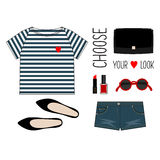 方式例证 夏天成套装备 妇女现代衣物舱内甲板集合 时髦和时髦衣物 图库摄影