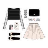 方式例证 浪漫成套装备 女孩的衣物舱内甲板集合 时髦和时髦衣物 免版税库存照片