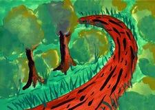 方式在公园-手拉的水彩绘画 库存照片