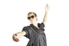 方式女孩纵向太阳镜 免版税图库摄影