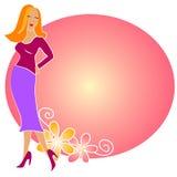 方式白肤金发的女孩徽标粉红色 免版税图库摄影