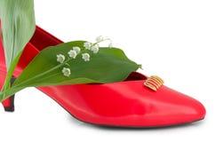 方式红色鞋子 免版税库存照片