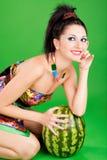 方式西瓜妇女 图库摄影