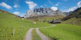 绕方式通过美好的高山风景瑞士 库存图片