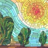 方形的与树的马赛克摘要红色太阳 免版税图库摄影