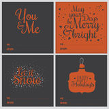 方形的圣诞节和新年贺卡 向量例证