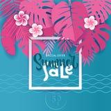 方形的夏天热带棕榈monstera在trandy纸被削减的样式离开 白色框架3d在掩藏在异乎寻常的蓝色的夏天销售上写字 皇族释放例证