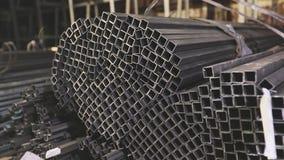 方形的外形管子,金属仓库 清洗,金属仓库,金属外形堆积在行 股票录像