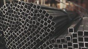 方形的外形管子,金属仓库 清洗,金属仓库,金属外形堆积在行 影视素材