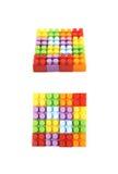 方形的形状由玩具砖做成 库存照片