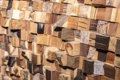 方形的木头延长以混乱方式 库存照片