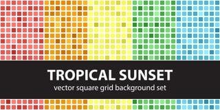 方形的样式集合热带日落 传染媒介无缝的几何ba 库存图片