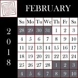 方形的格式2018日历2月 库存照片