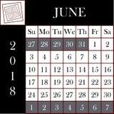 方形的格式2018日历6月 免版税库存照片