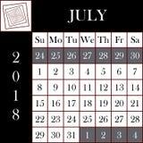 方形的格式2018日历7月 免版税库存照片