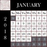 方形的格式2018日历1月 免版税库存照片