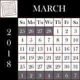 方形的格式2018日历3月 图库摄影
