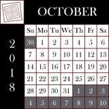 方形的格式2018日历10月 免版税库存照片