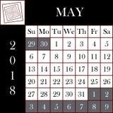 方形的格式2018日历  免版税库存图片