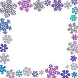 方形的框架由不同的雪花制成 免版税库存照片