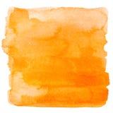 方形的橙色水彩横幅背景 免版税图库摄影