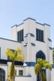 方形的灰泥教会在热带 库存图片