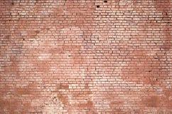 方形的砖块墙壁背景和纹理 绘在红色 免版税库存图片
