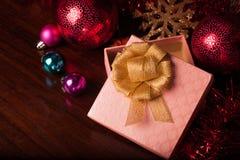 方形的礼物盒圣诞节 免版税库存图片
